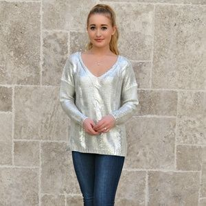 Sweaters - CABLE SILVER FOILED V-NECK SWEATER